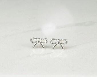 Sterling silver ribbon ear studs, bow ear studs, bow earrings