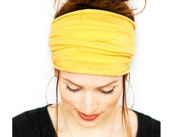 Yellow HeadWrap - Fitness Headband Yoga Headband Wide Headband Workout Headband Boho Headband Running Headband Headbands Womens Headband