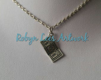 Small Silver 100 Dollar Bill Charm Necklace on Silver Crossed Chain or Black Faux Suede Cord. Money, Cash