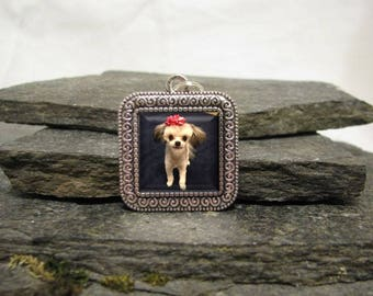 Square Photo Charm, Boutonniere charm, lapel pin charm, personalized charm