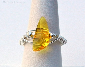 Sunny Bright Yellow Faceted Swarovski Crystal Ring Sterling Silver Light Topaz Wing Arrow Shape DR33