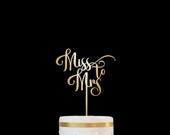 Bridal Shower Cake Topper Customized Wedding Cake Topper, Personalized Cake Topper for Wedding, Miss to Mrs Cake Topper 23