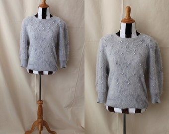 1980s Gray Slouchy Sweater with Faux Pearl Accents