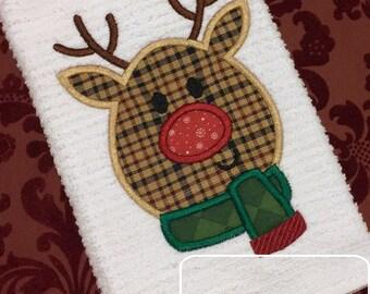 Reindeer 130 Applique Embroidery Design - reindeer appliqué design - Christmas appliqué design