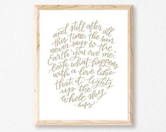 "Light Up the Sky 8x10"" Letterpress Print // HeartSwell // Art Print // Nature Print // Love Print"
