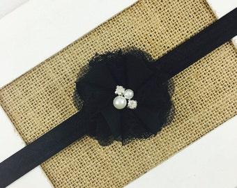 Black Flower Girl Headband,Baby girl headband,Toddler Headband,Newborn Headband, Black Flower Hair Clip,Black Flower girl Headband,Halloween