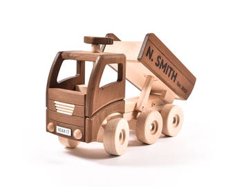 Children Gift, Child's Toy Truck, Personalised Wooden Toy, Christening Toy Gift, Christmas Toy,
