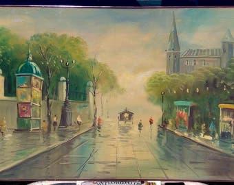 Old Vintage Paris French France Landscape Oil Painting Bridge Parisian Signed