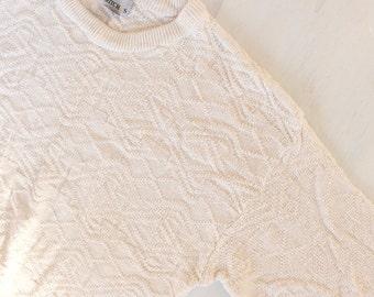 Vintage Antique-white Textured Oversized Sweater