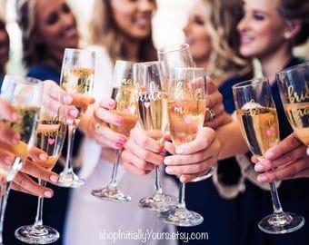 Wedding Champagne Glass, Champagne Flutes, Bridal Party Glass, Bridesmaid Champagne, Toasting Flutes, Personalized Wedding Champagne Glasses