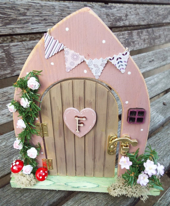 Wooden fairy door free standing hand painted custom made for Wooden fairy doors