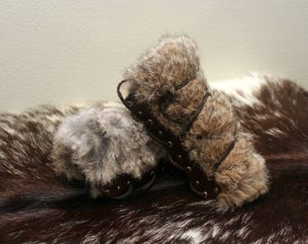 Barbarian-Style Rabbit Fur and Leather Bracers