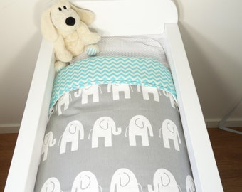 Bassinet quilt and fitted sheet OR bassinet quilt ONLY - Grey and aqua elephants