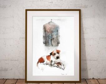Original Watercolor painting Dog with a Coat. Watercolor pet portrait. Original watercolor illustration, mixed media painting, dog wall art