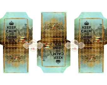 KEEP CALM - Printable Download Digital Collage Sheet Tea Bag Holder Envelopes - Paper Cut Template