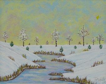 Early Autumn Snow Original Acrylic Painting 14x11 Framed No. 698