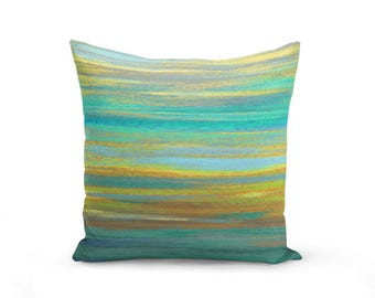 Throw Pillow Cover, Teal Pillow Cover, Teal and Yellow Pillow, Abstract Art, Home Decor, Pillow Cover, Couch Pillow Cover, Cushion Cover