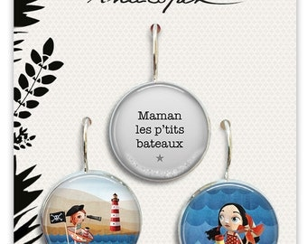 1 trio of earrings in resin - 18mm MOM the p' little boats - Anatopik