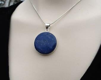 Lapis Lazuli Pendant, Blue Lapis Jewelry, Lapis Silver Pendant Necklace,  Blue Gemstone, Gift for Her