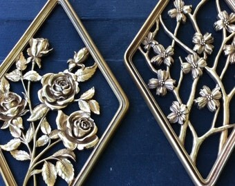 SALE..Vintage Gold Diamond, Syroco, Rose & Dogwood, Wall Plaques, Set of 2, ShabbyChic, Hollywood Regency, French Country, Mid Century