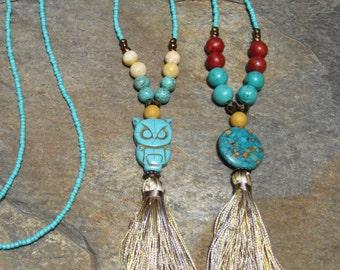 long beaded tassel necklace turquoise necklace boho necklace owl silk tassel necklace coral necklace earthy beaded bohemian necklace
