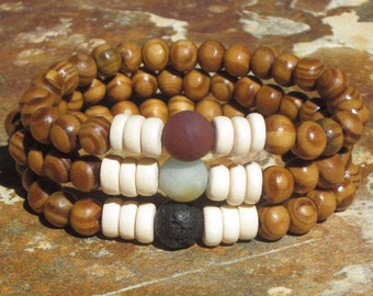 mens wood beaded mala brown wooden beads black lava rock white wooden beads hippie bohemian stretch stacking yoga bracelet amazonite stone