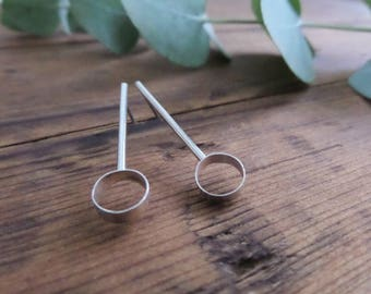 Modern Bar Earrings, Long Studs, Geometric Bar Earrings, Circle Bar Earrings, Circle and line Stud Earrings, Long Earrings.