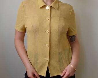 Desert sand sheer short sleeve collared blouse- S/M