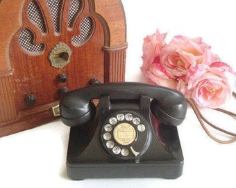 Antique Rotary Telephone, 1940s, North Electric Galion, Bakelite, Cloth Cord, Made in USA, Black Desk Phone, Modernized Landline