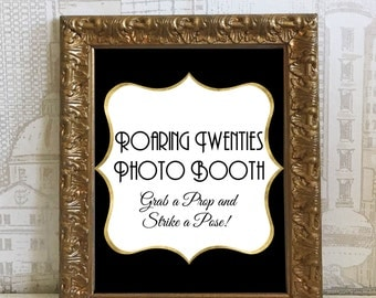 Black & Gold Printable Roaring 20s Photo Booth Sign - Great Gatsby, Wedding, DIY Instant Download Typography Print