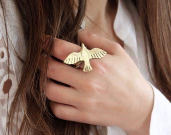 Bird ring seagull ring flying birds nature inspired jewelry animal jewelry bird jewelry ethnic ring bohemian jewelry hippie ring adjustable