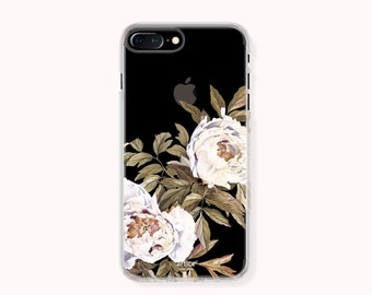 Floral iPhone 7 Case, iPhone 7 Plus Case, iPhone 6/6S Case, iPhone 6/6S Plus Case, iPhone 5/5S/SE Case, Galaxy S8/S8Plus Case - White Peony