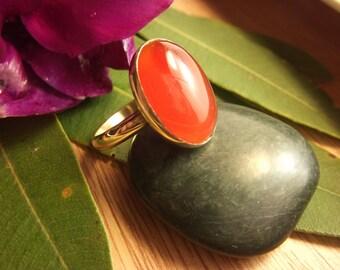 Carnelian Ring Brass Ring Handmade Golden Jewelry Semi Precious Gemstone Jewel Artisan Design Bronze Jewelry