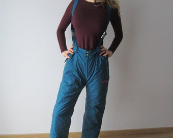 Sea Blue Ski Pants Medium Size Skiing Suit Pants Winter Hipster Snow Pants Windbreaker Pants Ski Overalls Pants