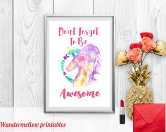 Don't Forget to be awesome Printable Art, Unicorn print, Unicorn art , Instant download, Home decor