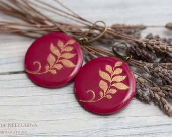 Outdoors gift, Christmas Earrings for Women, Vinous Earrings, Burgundy Earrings, Christmas earrings for girlfriend, Winter wife gift