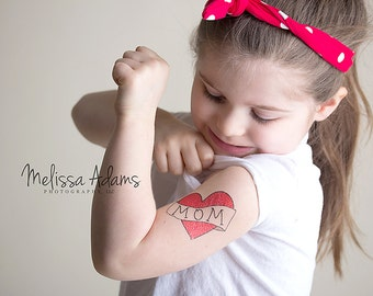 temporary tattoo for girls mom heart tattoo valentine's gift for mom kid fake tattoo red heart tattoo for children valentines day photoshoot