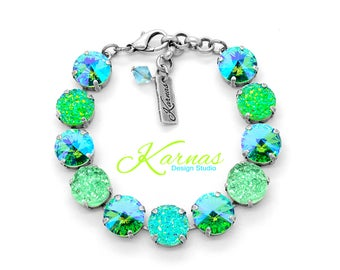 GREEN WITH ENVY 12mm Crystal Rivoli & Druzy Bracelet Made With Swarovski Elements *Pick Your Finish *Karnas Design Studio *Free Shipping*