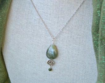 Connemara Marble Raindrop Eternity Knot pewter and sterling silver necklace