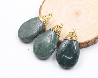 Waterdrop Moss Agate Pendants -- Gold Wired Head With Electroplated Gold Edge Charms Wholesale Supplies YHA-192