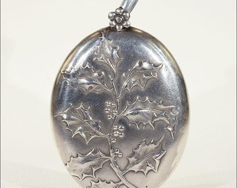 Antique French Art Nouveau Slide Locket with Holly Motif in Silver