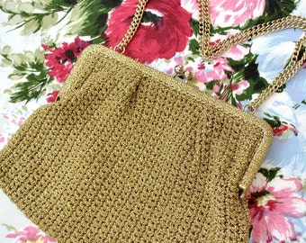 Vintage 1960s Gold Lurex Knitted Evening Purse with Chain Strap Handle