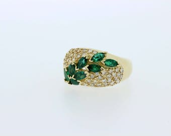 Emerald and Diamond Cluster 14K Yellow Gold Ring