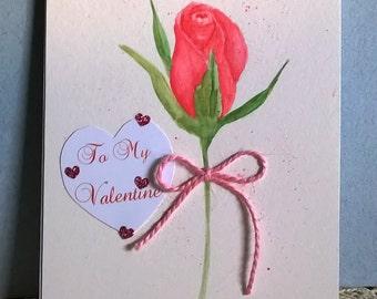 Valentine Card, Watercolor, Love Interest, Husband, Wife, Boyfriend, Girlfriend, Handmade