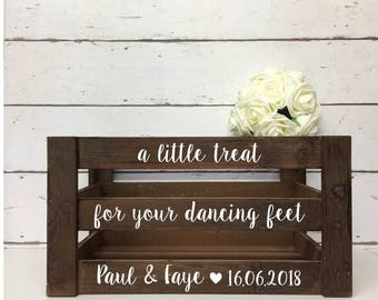 A Little Treat For Your Dancing Feet | Personalised | Wedding | Wooden | Crate | Box | Slippers | Flip Flops | Rustic | Gifts and Cards
