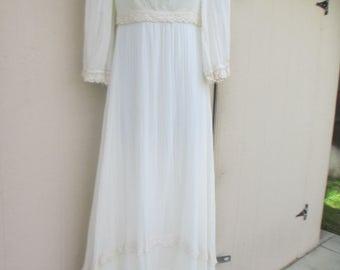 70's Ladies 'Faux Gunne Sax' Handmade, Empire Waist, Decorative Trim, Zip Up, Cream Maxi Dress