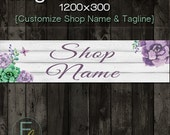 Etsy Shop Cover Photo 1200x300, Premade Watercolor Flowers Design, Large Floral Art Banner, Customize Shop Name, Great on Mobile Devices