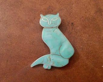 Sale: Vintage Taxco Turquoise Stones w/ Enamal Silver Cat Pin