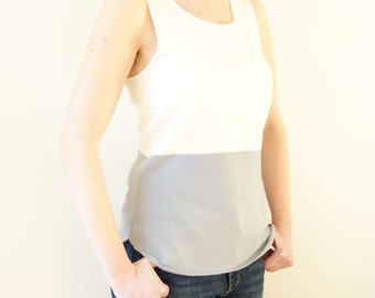 Knitted 100% merino top, knit merino tank, merino wool shell, two colour, white and grey