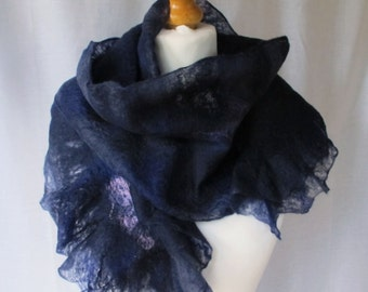 Ruffled scarf, navy frilled cobweb,  deep blue merino wool hand felted